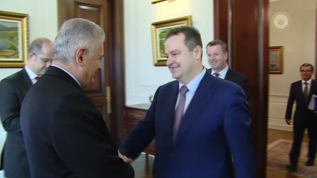 Turkish Prime Minister Binali Yildirim meets with Serbian Foreign Minister Ivica Dacic at Cankaya Palace in Ankara Turkey on October 5 2016 Footage...