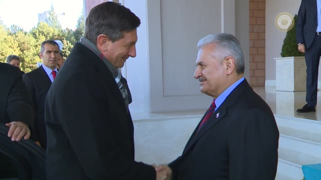 turkish prime minister binali yildirim meets with slovenian president borut pahor at cankaya palace in ankara turkey on december 15 2016 - binali yildirim stock-videos und b-roll-filmmaterial