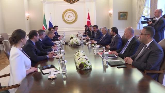 Turkish Prime Minister Binali Yildirim meets with Tatarstan President Rustam Minnikhanov at Cankaya Palace in Ankara Turkey on April 26 2018