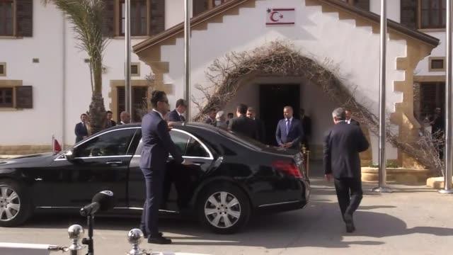 turkish prime minister binali yildirim meets with turkish republic of northern cyprus president mustafa akinci in lefkosa on march 9 2017 - türkischer premierminister stock-videos und b-roll-filmmaterial