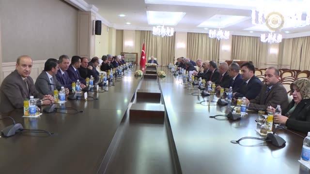 Turkish Prime Minister Binali Yildirim meets with Turkmen politicians of Iraq in Baghdad Iraq on January 07 2017