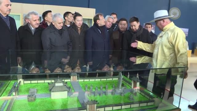 "turkish prime minister binali yildirim on april 07, 2018 visits bilge khagan museum in kharkhorin town of mongolia.""the protection and passing of... - トルコ首相点の映像素材/bロール"