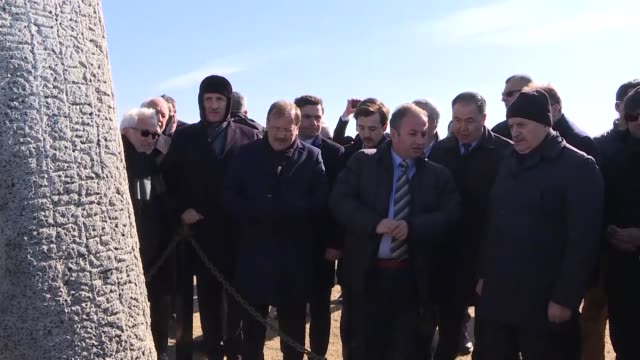 Turkish Prime Minister Binali Yildirim on April 07 2018 visits Turkic Bilge Tonyukuk Monument In the second day of his threeday official visit to...