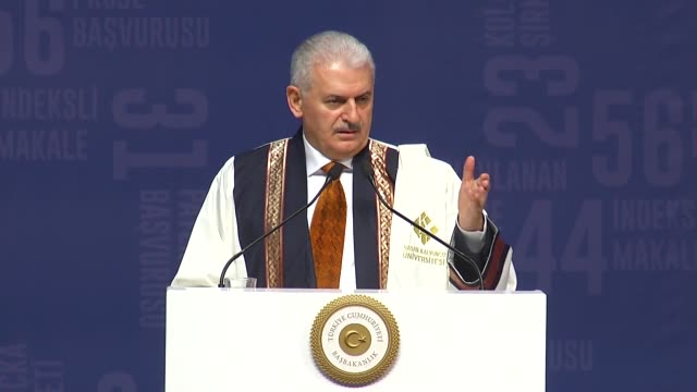 """turkish prime minister binali yildirim on saturday said no one can design the region's future without turkey. """"stop at the west of euphrates, don't... - primo ministro turco video stock e b–roll"""
