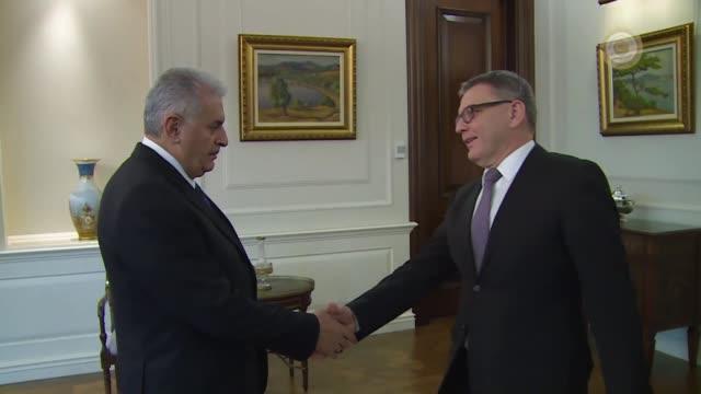 turkish prime minister binali yildirim receives czech foreign minister lubomir zaoralek at cankaya palace in capital ankara turkey on december 13 2016 - binali yildirim stock-videos und b-roll-filmmaterial