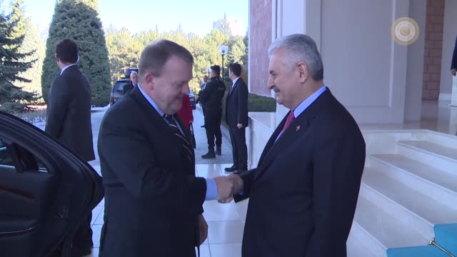 turkish prime minister binali yildirim receives his danish counterpart lars lokke rasmussen at cankaya palace in capital ankara on december 10 2016 - binali yildirim stock-videos und b-roll-filmmaterial