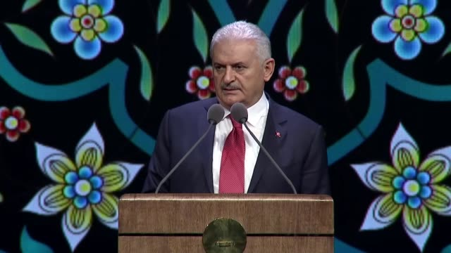 turkish prime minister binali yildirim speaks at the opening ceremony of the bestepe culture and convention center in ankara turkey on may 08 2018 a... - minister president stock videos and b-roll footage