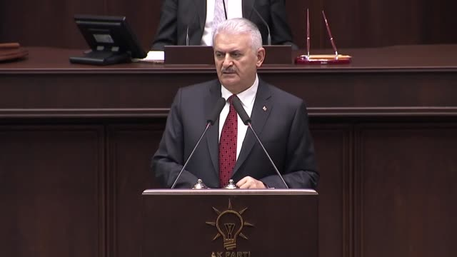 Turkish Prime Minister Binali Yildirim speaks at the parliamentary group meeting of Justice and Development Party at the Grand National Assembly of...