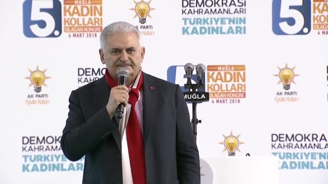 Turkish Prime Minister Binali Yildirim speaks at the ruling Justice and Development Party's provincial women's congress in western Mugla province of...