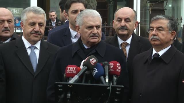 turkish prime minister binali yildirim speaks to journalist about new american president donald trump in ankara turkey on january 20 2017 yildirim... - binali yildirim stock-videos und b-roll-filmmaterial