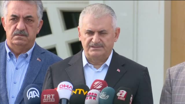 turkish prime minister binali yildirim speaks to journalists after performing eid aladha prayer at marmara university theology faculty mosque at... - marmara stock videos and b-roll footage