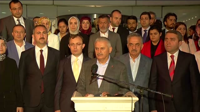 turkish prime minister binali yildirim speaks to the press after consultation meeting at ak party provincial chairmanship in istanbul, turkey on... - トルコ首相点の映像素材/bロール
