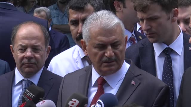 turkish prime minister binali yildirim speaks to the press on june 08, 2016 in istanbul, turkey after a car bomb attack hits a police station in the... - istanbul province stock videos & royalty-free footage
