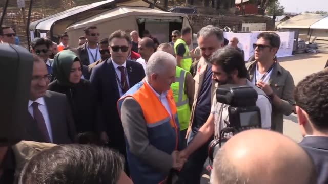 Turkish Prime Minister Binali Yildirim Turkish Deputy Prime Minister Bekir Bozdag and other Turkish officials visit Mainnerghona Rohingya refugee...