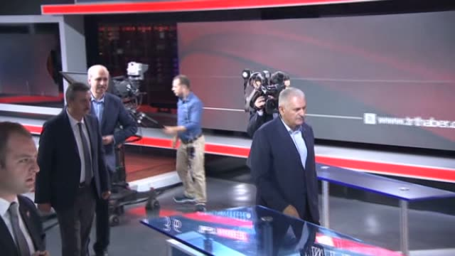 turkish prime minister binali yildirim visits the turkish radio and television corporation building in ankara turkey on july 17 2016 - binali yildirim stock-videos und b-roll-filmmaterial
