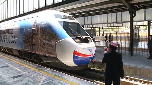 Turkish Prime Minister Recep Tayyip Erdogan and his wife Emine Erdogan take the HighSpeed Train to Eskisehir within the maiden voyage of Ankara...