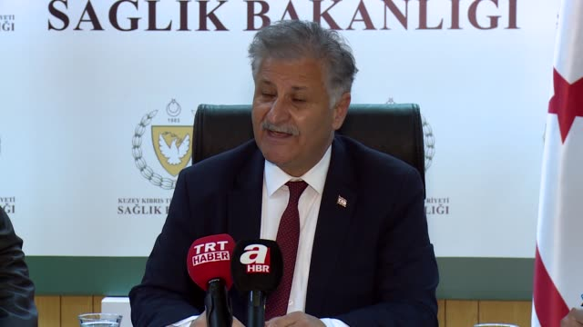 turkish republic of northern cyprus health minister ali pilli holds a press conference in lefkosa on march 10, 2020. the first coronavirus case in... - epidemic stock videos & royalty-free footage