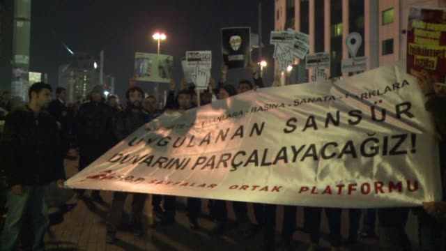 turkish riot police saturday used tear gas and water cannon to disperse more than 2000 people demonstrating against new internet curbs that have... - water cannon stock videos and b-roll footage