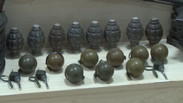 turkish security forces on thursday seized a large cache of arms and ammunition meant for use in attacking police stations thus averting such attacks... - hand grenade stock videos & royalty-free footage