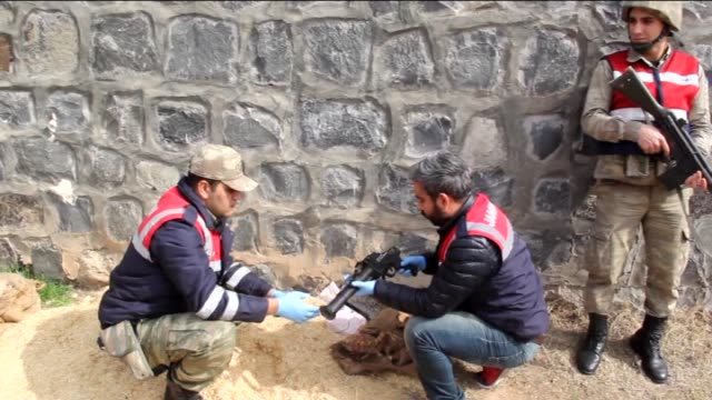 turkish security forces seize weapons and ammunitions, provided to pkk terrorists by democratic union party and its armed wing the people's... - people's protection units stock videos & royalty-free footage