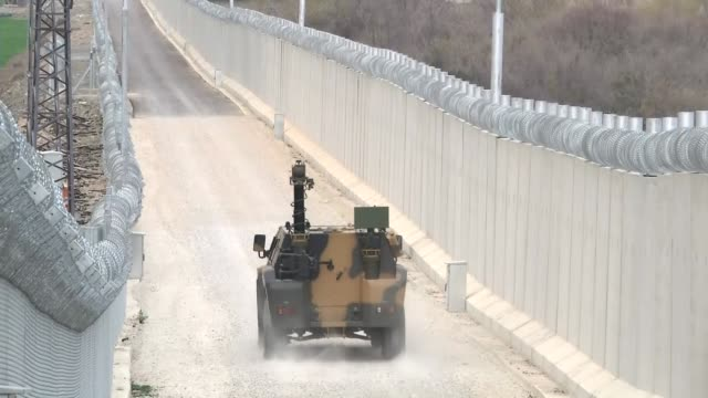 turkish soldiers affiliated to the 3rd border battalion command, take part in a press tour organized by department of press and public relations of... - concrete wall stock videos & royalty-free footage