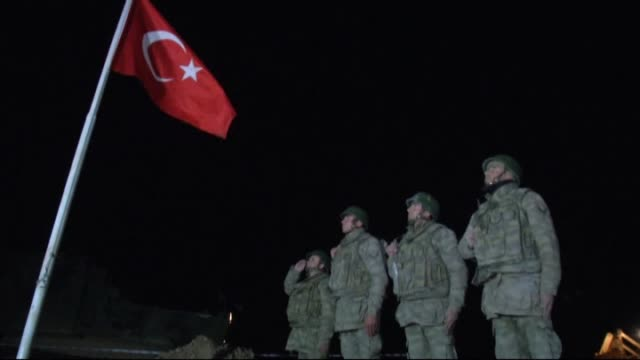 turkish special forces and tanks have entered syria on saturday night and they have raised turkish flag in the esme region of aleppo where the tomb... - the morning after stock videos & royalty-free footage