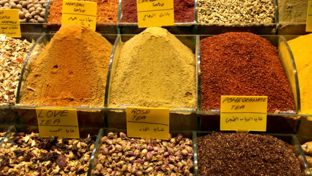 turkish spice market at misir carsisi - spice stock videos and b-roll footage