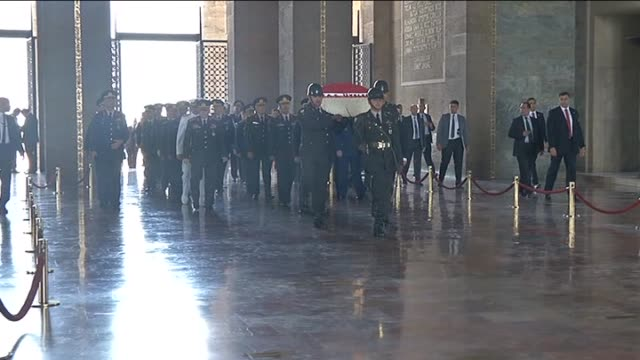 turkish supreme military council members turkey's prime minister ahmet davutoglu turkish military chief of staff general necdet ozel and other... - mausoleum stock videos and b-roll footage