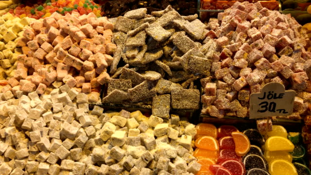 turkish sweets at misir carsisi - spice bazaar stock videos & royalty-free footage