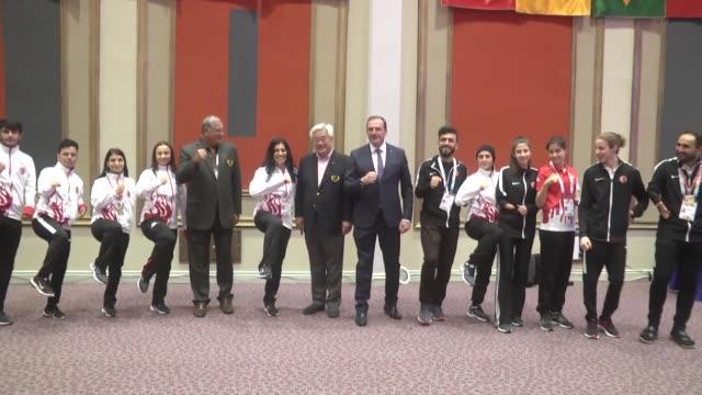 turkish taekwondo federation metin sahin and world taekwondo federation's president chungwon choue speak to the media antalya, turkey on february 07,... - taekwondo stock videos & royalty-free footage
