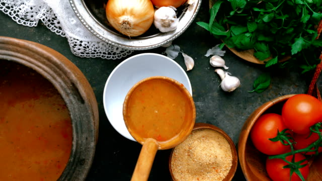turkish tarhana soup -  pouring soup with wooden ladle - bamboo plant stock videos & royalty-free footage