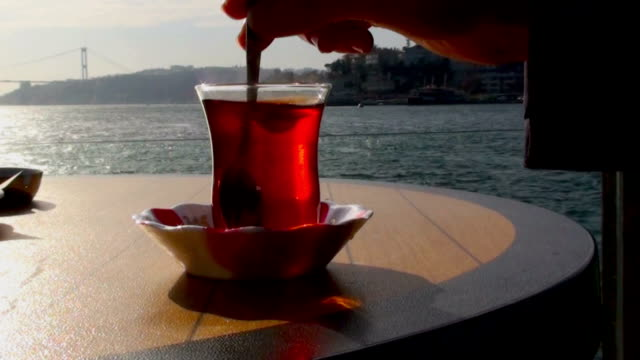 turkish tea by the sea - bosphorus stock videos & royalty-free footage