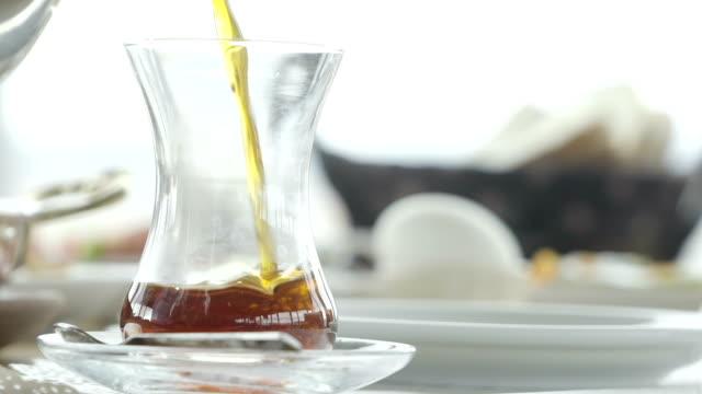 turkish tea for breakfast - teapot stock videos & royalty-free footage