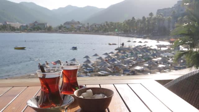 turkish tea & iclemer bay, marmaris, anatolia, turkey - marmaris stock videos & royalty-free footage