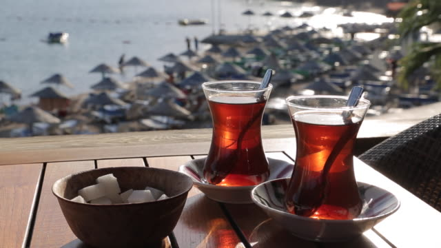 Turkish Tea & Iclemer Bay, Marmaris, Anatolia, Turkey