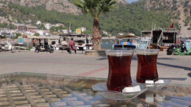 turkish tea in turunc, marmaris, anatolia, turkey - marmaris stock videos & royalty-free footage