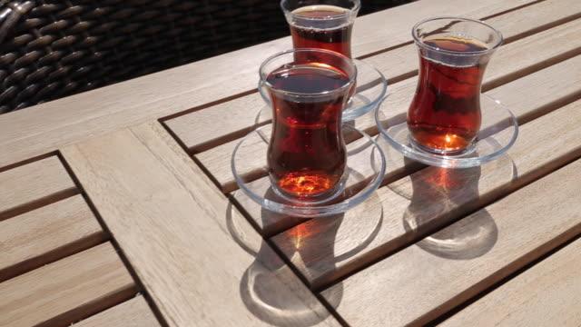 turkish tea, marmaris, anatolia, turkey - tee warmes getränk stock-videos und b-roll-filmmaterial