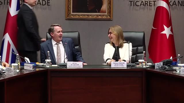 turkish trade minister ruhsar pekcan and british secretary of state for international trade liam fox hold a meeting on june 18 2019 in ankara turkey - liam fox politician stock videos and b-roll footage