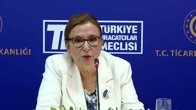 vídeos de stock, filmes e b-roll de turkish trade minister ruhsar pekcan briefs the media about the foreign trade figures for the previous month on september 04 2019 in ankara turkey... - 0 1 mês