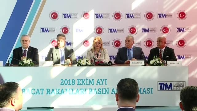 turkish trade minister ruhsar pekcan speaks at a meeting where she reveals preliminary trade ministry data in the southern province of adana turkey... - pct stock videos and b-roll footage