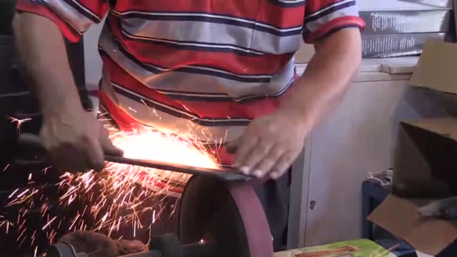turkish vendors sharpen knives for customers ahead of the eid aladha on august 06 2019 in turkey's eastern province of kars and erzincan provinces - kars stock videos & royalty-free footage