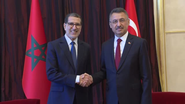 Turkish Vice President Fuat Oktay and Moroccan Prime Minister Saadeddine Othmani hold a meeting on the sidelines of the centenary session of...