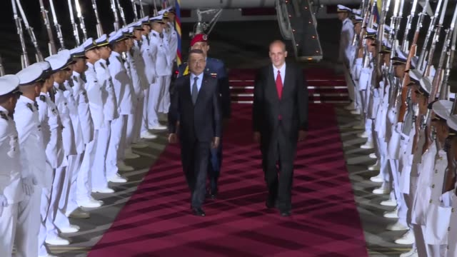 turkish vice president fuat oktay arrived in venezuela's capital late wednesday to attend president nicolas maduro's inauguration ceremony speaking... - maduro stock videos & royalty-free footage