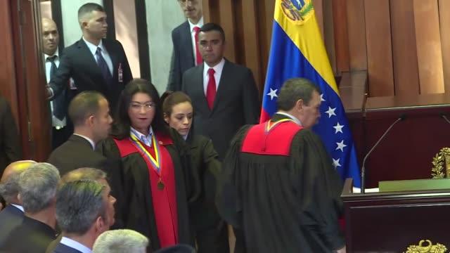turkish vice president fuat oktay attends presidential inauguration ceremony of venezuelan president nicolas maduro in caracas venezuela on january... - ウゴ・チャベス点の映像素材/bロール