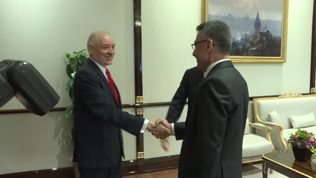 Turkish Vice President Fuat Oktay meets with Paraguayan Foreign Minister Luis Alberto Castiglioni in Ankara Turkey on May 02 2019