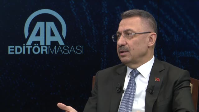 turkish vice president fuat oktay speaks at anadolu agency's editor's desk on november 05 2018 in ankara our fight on our borders will continue until... - {{ contactusnotification.cta }} stock videos & royalty-free footage