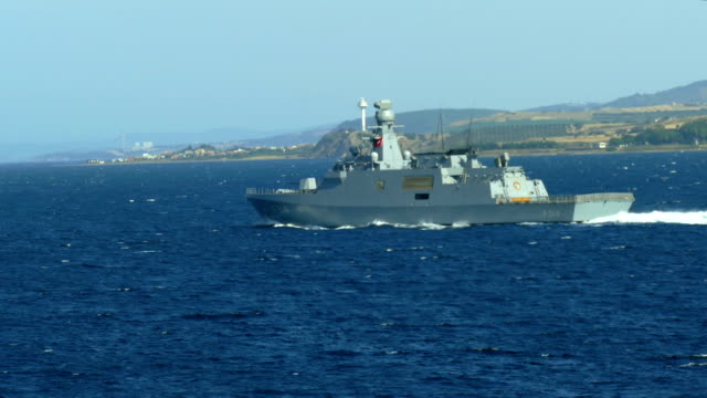 turkish warship in the dardanelles - military ship stock videos & royalty-free footage