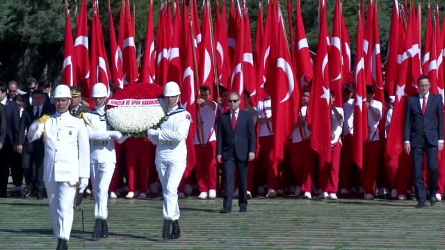 turkish youth and sports minister akif cagatay kilic along with thousands of students visits anitkabir the mausoleum of turkey's founder mustafa... - mausoleum stock videos and b-roll footage