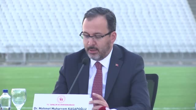 turkish youth and sports minister mehmet kasapoglu speaks after uefa champions league 2020 final was previously scheduled to be at the ataturk... - budapest stock videos & royalty-free footage