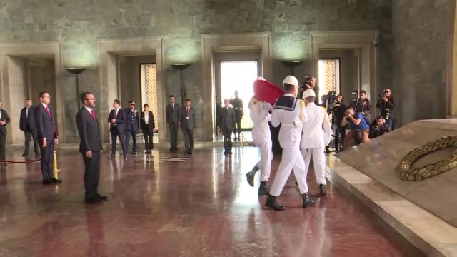 turkish youth and sports minister mehmet muharrem kasapoglu laid a wreath at anitkabir ataturk's mausoleum overlooking the capital ankara during the... - mausoleum stock videos and b-roll footage